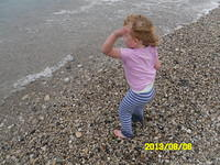 Throwing rocks into Lake Michigan